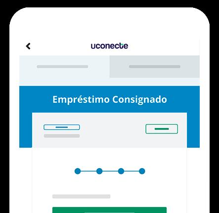 Celular com uma tela de simulação de empréstimo consignado